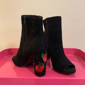Peep Toe Rose Booties